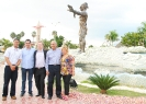 Felix Mercedes (GQC Country Manager), Eduardo Ramirez, Counsellor Aladin Legault, Julio Espaillat (GQC President & CEO) & Mayor Hanoi Sanchez (Mayor of San Juan De La Maguana, DR) at the Plaza Caonabo at the entrance of San Juan De La Maguana